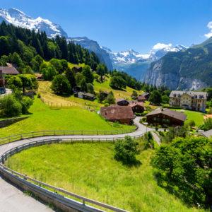 Aerial view of the village of Lauterbrunnen from the mountain Mannlichen. Switzerland.